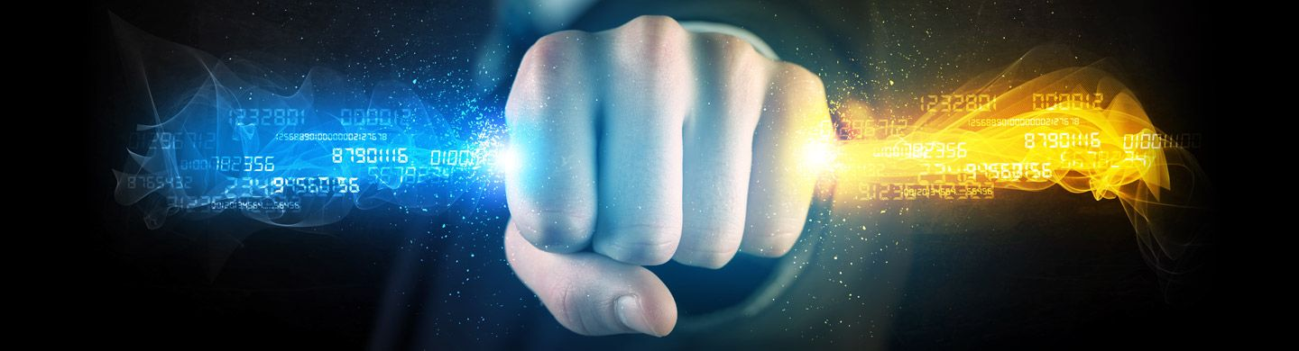 flaming fist with digital information flowing out