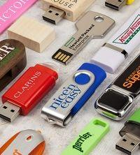 a selection of branded usb sticks