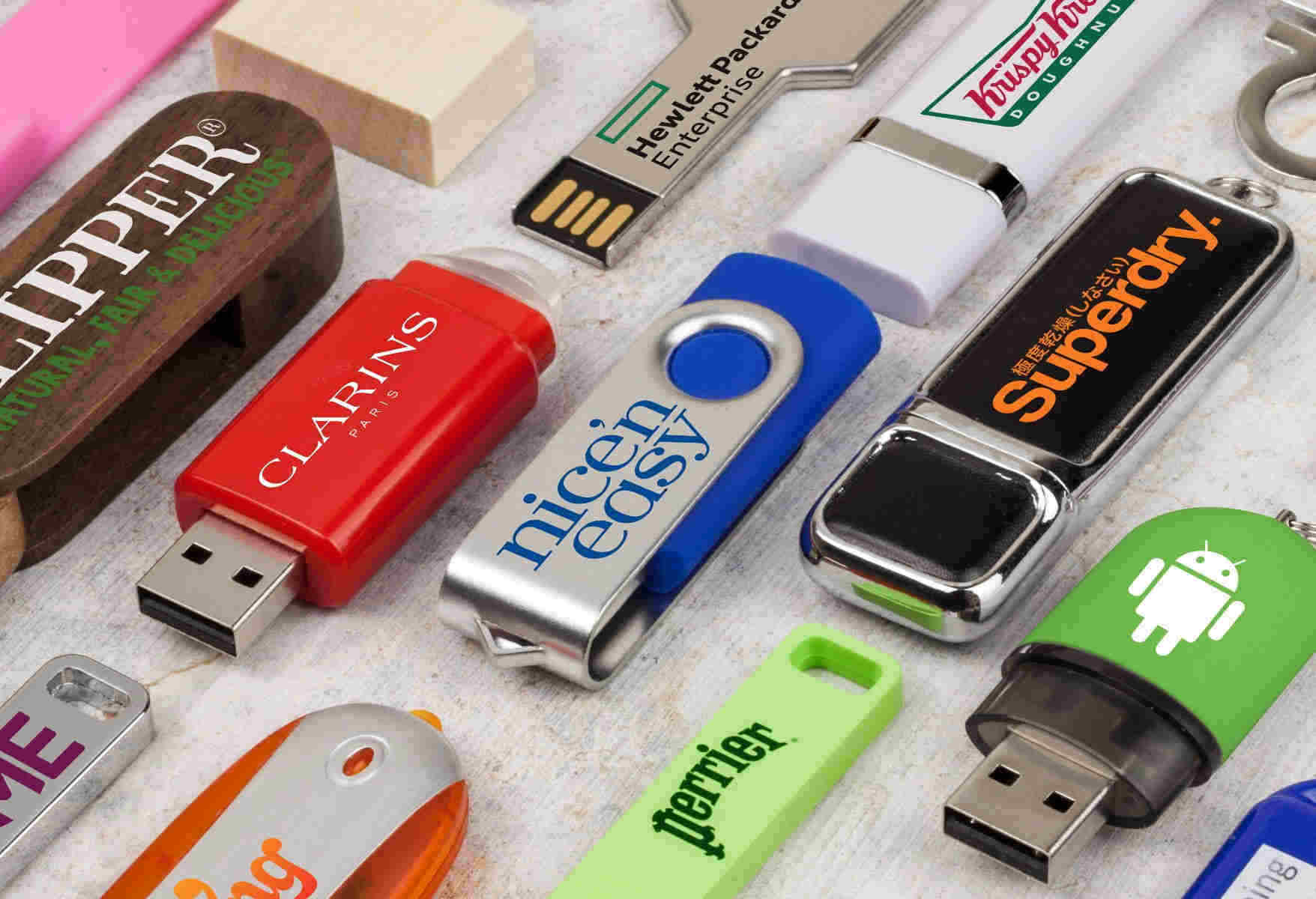 a selection of branded usb sticks from USB2U