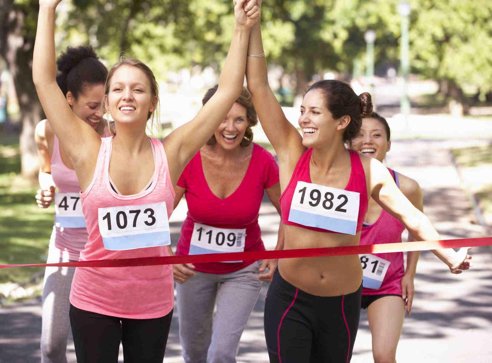 ladies taking part in a charity fun run