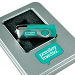Branded USB stick with matching tin