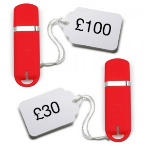 red usb sticks with price tags