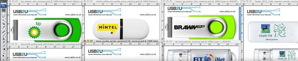 Photoshop mock-ups of branded USB sticks