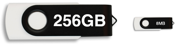 big 256GB USB stick next to a small 8MB USB stick