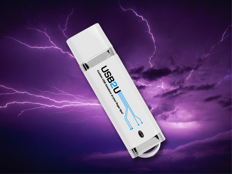 Branded USB Flash DRive amoungst storm clouds and lightening