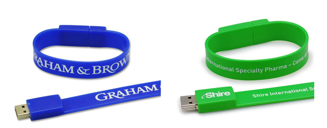 Examples of printed USB Wristbands from USB2U