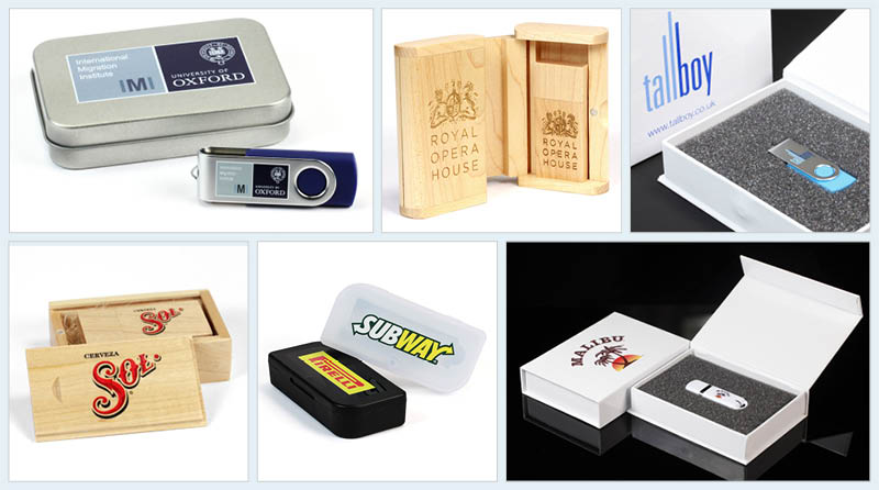 A montage of photographs of different USB Memory Sticks with branded packaging