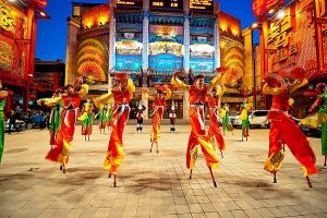 Ceremonial dancers at a Chinese festival