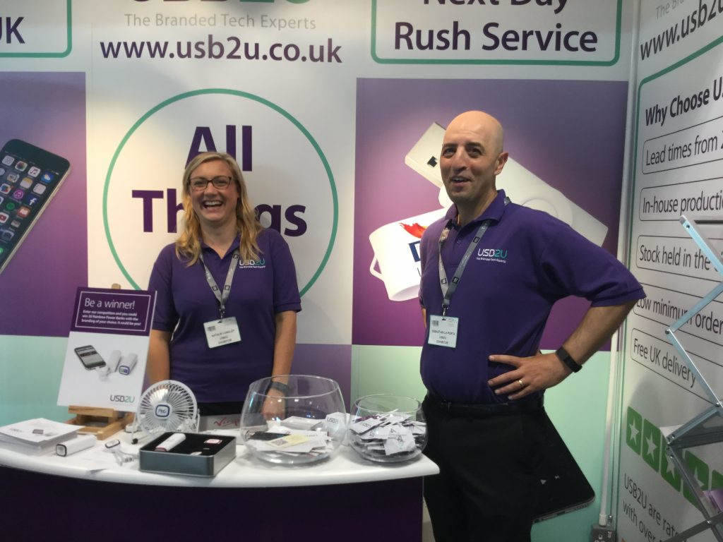 Nat and Seb from USB2U working hard on the stand at the BPMA show