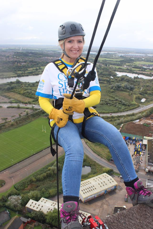 Karen from USB2U abseiling down the Northampton Lift Tower