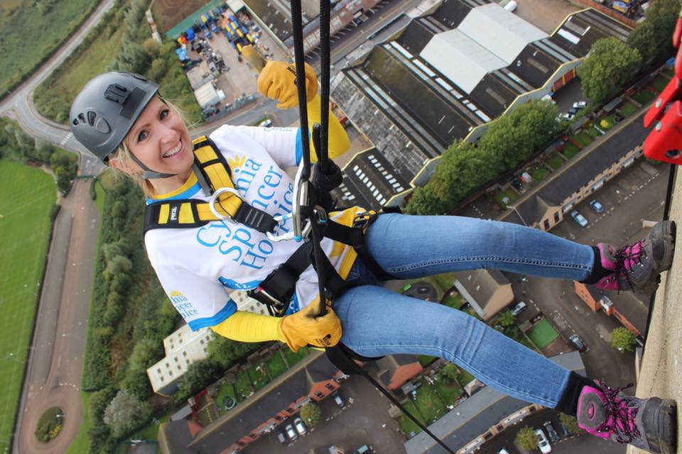 Karen from USB2U abseiling the Northampton Lift Tower