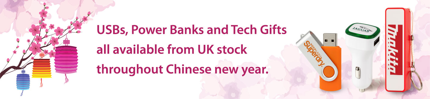 USB, Power Bank and Tech Gift stock in the UK over Chinese New Year