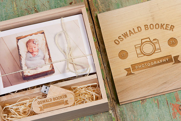Wooden box and wooden USB personalised