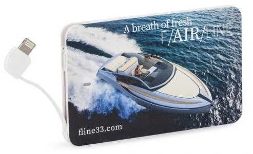 Credit card sized power bank printed with a logo and photo of a yacht