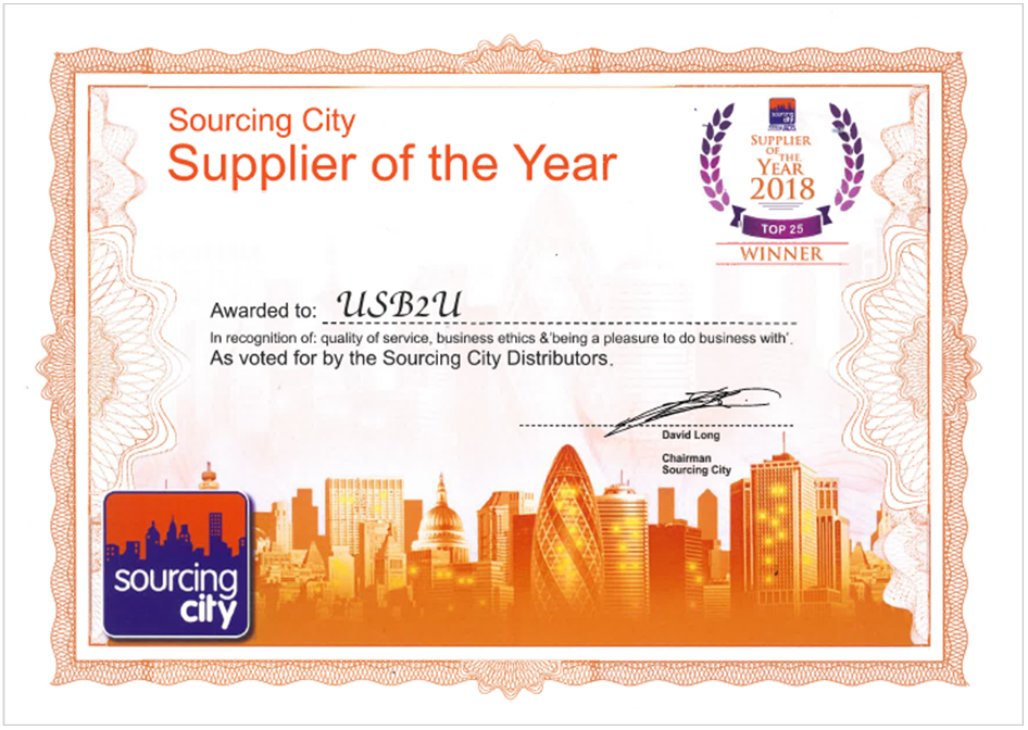 certificate showing USB2U as top promotional products supplier