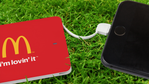Credit Card Power Bank Charging iPhone