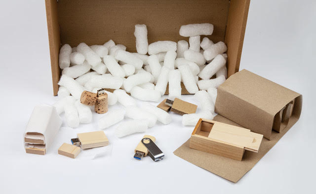 Eco Flo and recyclable packing materials with USB sticks