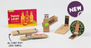 Eco corn starch USB sticks printed with logos