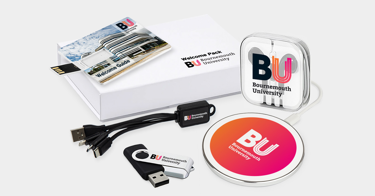 USB sticks phone charging cable and wireless charger with Bournemouth University logo applied
