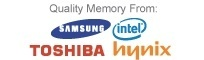 Quality Memory from: Samsung, Intel, Toshiba and Hynix