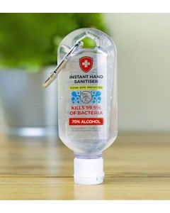 Antibacterial Hand Sanitiser with a Carabiner Clip - 60ml