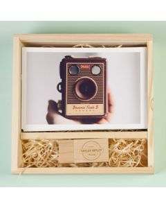 Vintage Photo Slide Box Square Pine