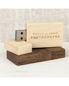 Wooden Memory stick Woodland Engraved