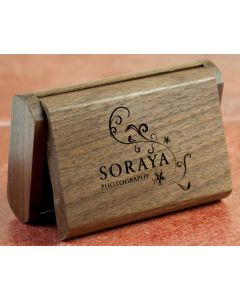 dark wood USB flip box engraved with logo