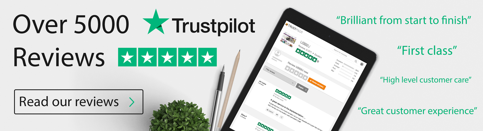 read USB2U reviews on trustpilot rated 5 stars