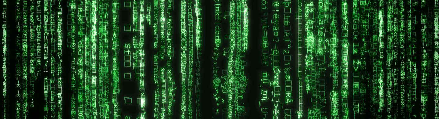 green encrypted code cascading over black background