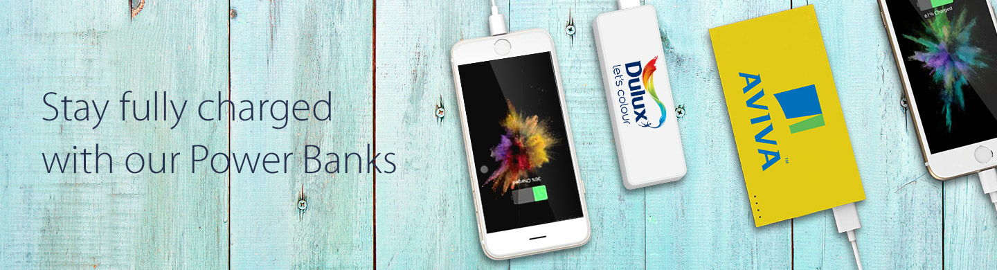 Promotional Power Banks charging smartphones