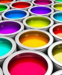 brightly coloured paint pots