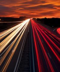 Light trails on a busy motorway