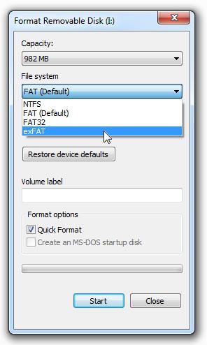 Windows PC USB Format