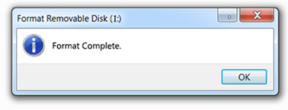 USB Formatting Complete